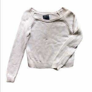 American Eagle Heathered White Sweater size large